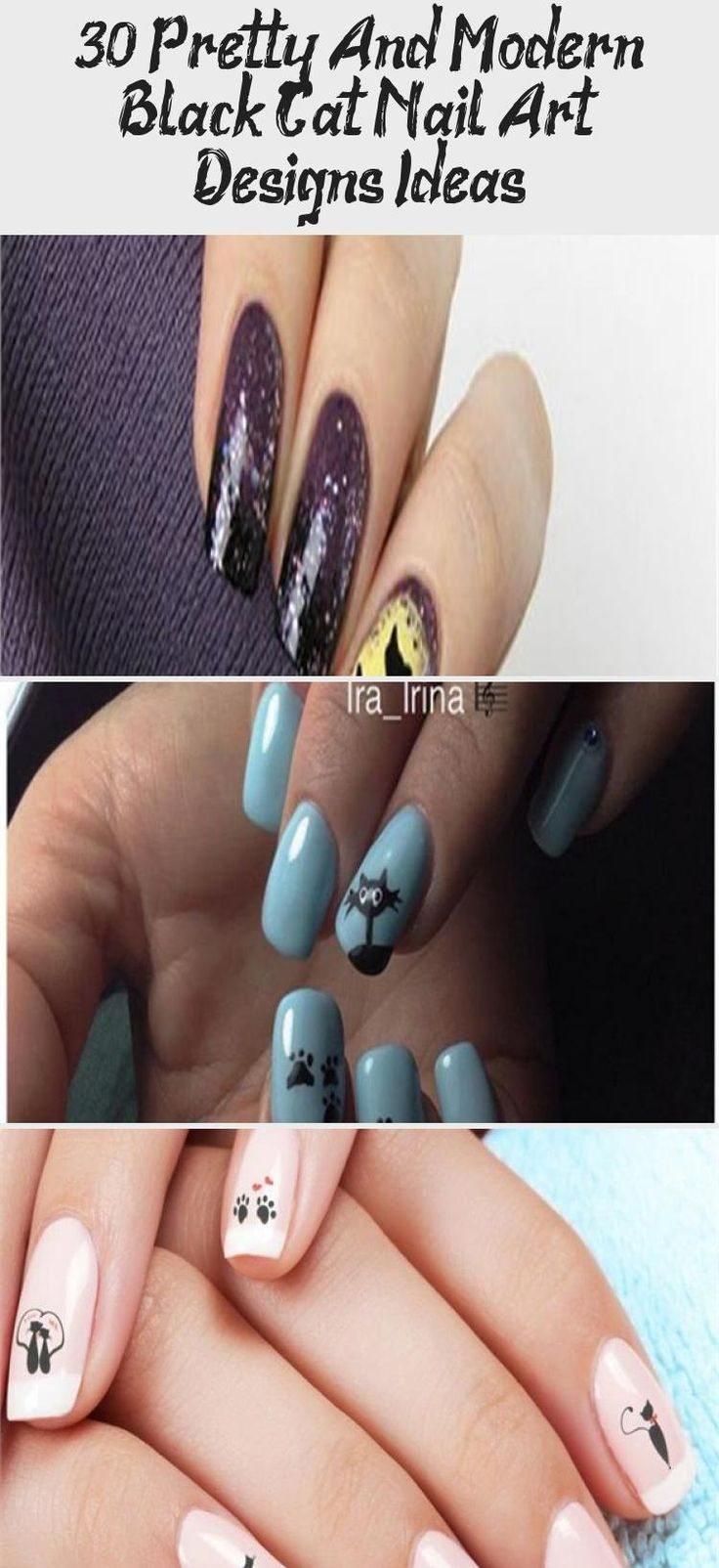 30+ Pretty And Modern Black Cat Nail Art Designs Ideas ...
