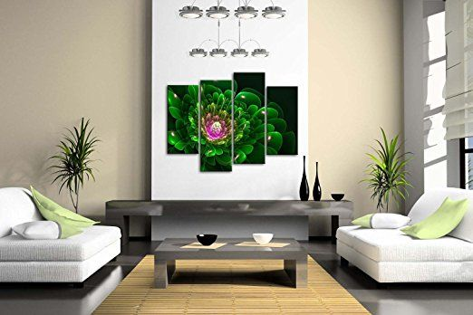Green home décor is super cute and trendy especially green  wall art. Easily deck the walls of your  home with cute green wall clocks, green canvas art, and green metal art. Mix and match different textures to create  depth. You find all shades of green from emerald, lime, forest and even  Jade.       First Wall Art - Artistic Green Flower Pink Wall Art Painting Pictures Print On Canvas Abstract The Picture For Home Modern Decoration