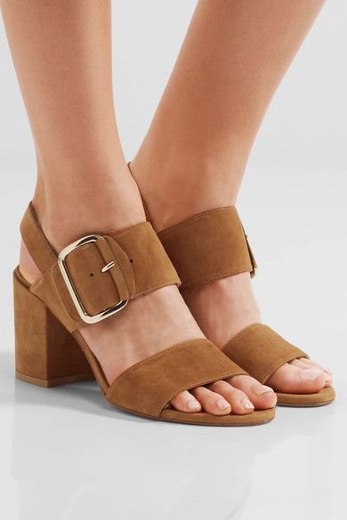 Heel measures approximately 85mm/ 3.5 inches Tan suede Buckle-fastening strap Designer color: Camel Made in Spain