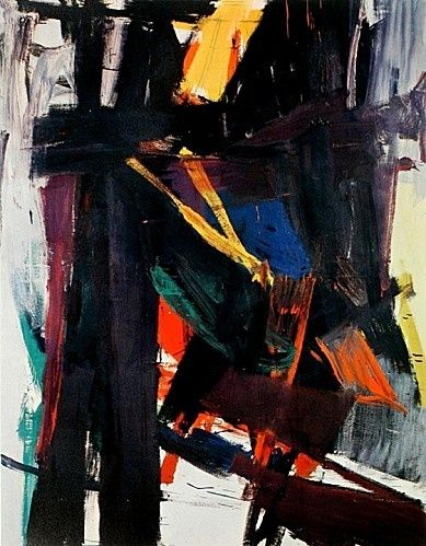 King Oliver, 1958. Franz Kline (1910-1962). Kline sought in the later 1950s to maintain a stylistic development. He was to introduce a full range of color. Some black-and-white paintings had already retained traces of sombre hues, but now Kline returned to the strident palette that he had largely eschewed since the later 1940s, as in the clashing green, red, and purples of King Oliver.
