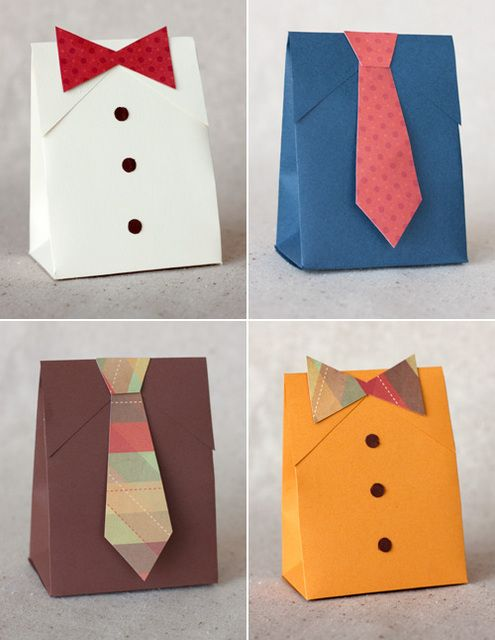 How To: Make Shirt and Tie Paper Bags (Free Template Download)   # Pin++ for Pinterest #