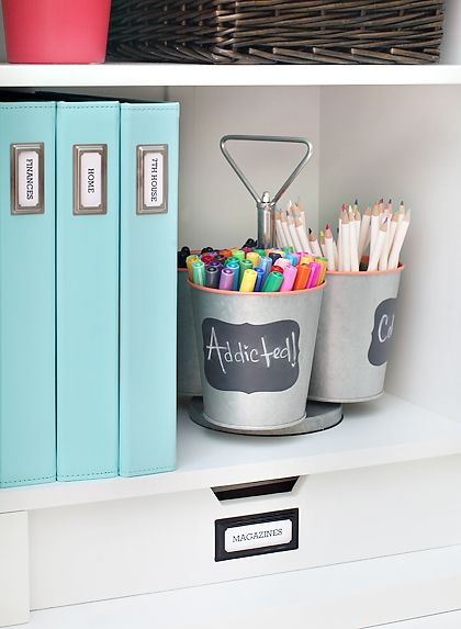 organized office shelf using a metal utensil caddy to organize markers pencils martha. Black Bedroom Furniture Sets. Home Design Ideas