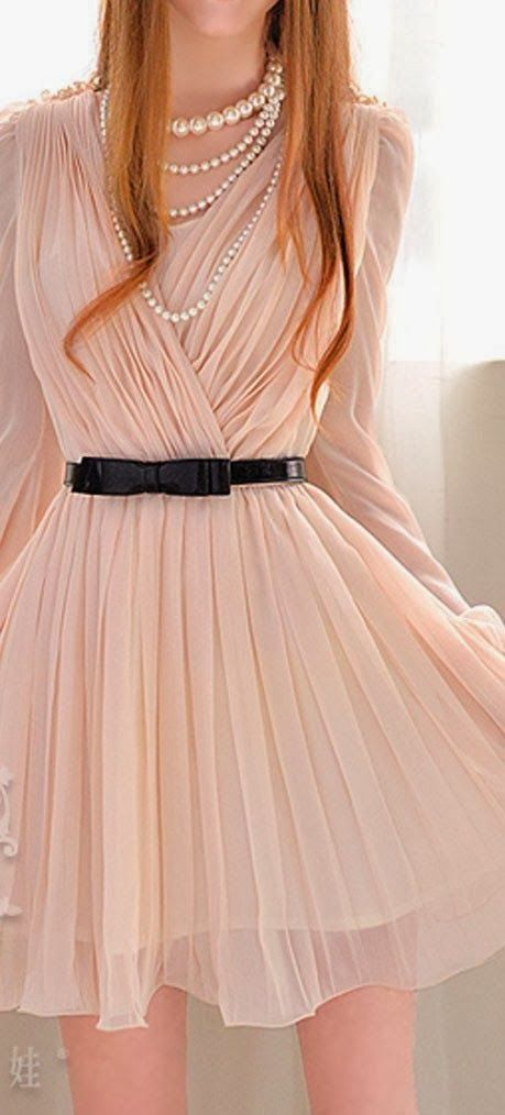Adorable Nude long sleeved pleated chiffon dress | Fashion World