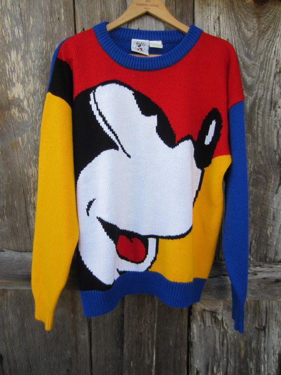 80s Mickey Mouse Oversized Knit Sweater by Walt Disney, Men's S Women's M // Vintage Block Color Jumper