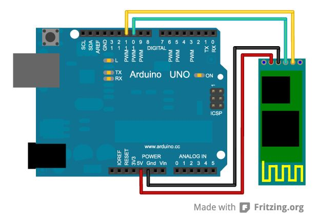 Arduino uno JY-MCU https://github.com/rwaldron/johnny-five/wiki/JY-MCU-Bluetooth-Serial-Port-Module-Notes