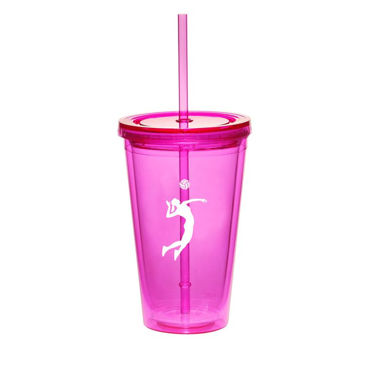 16Oz Double Wall Acrylic Tumbler Cup Mug W/ Straw Female Volleyball Player