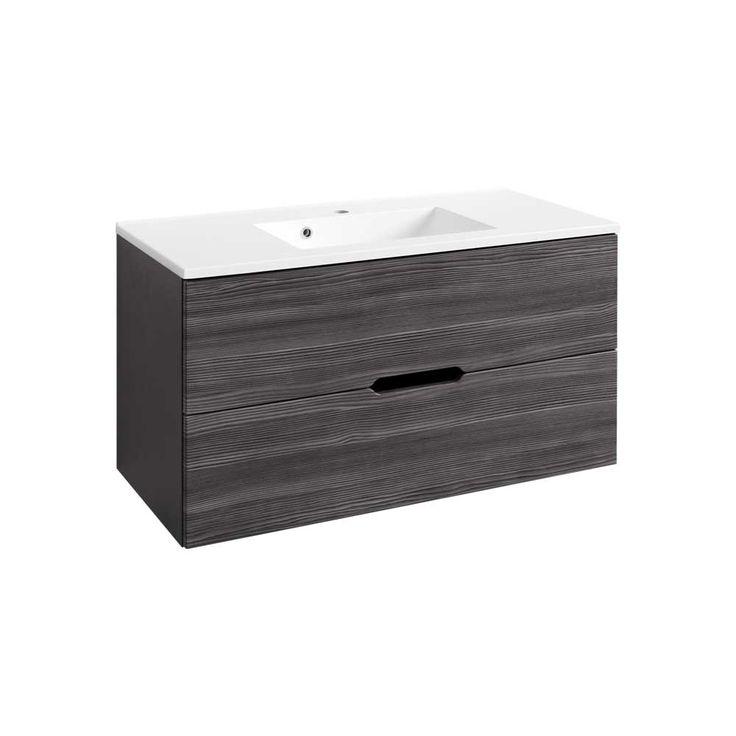 Badezimmer Waschbeckenschrank In Lärche Anthrazit 100 Cm Breit Jetzt  Bestellen Unter: Https://