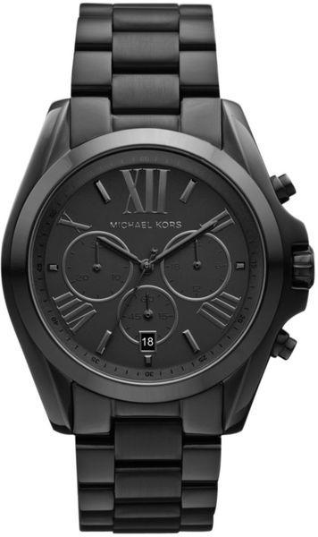 Michael Kors Black Womens Chronograph Black Ion Plated Stainless Steel Bracelet 43mm