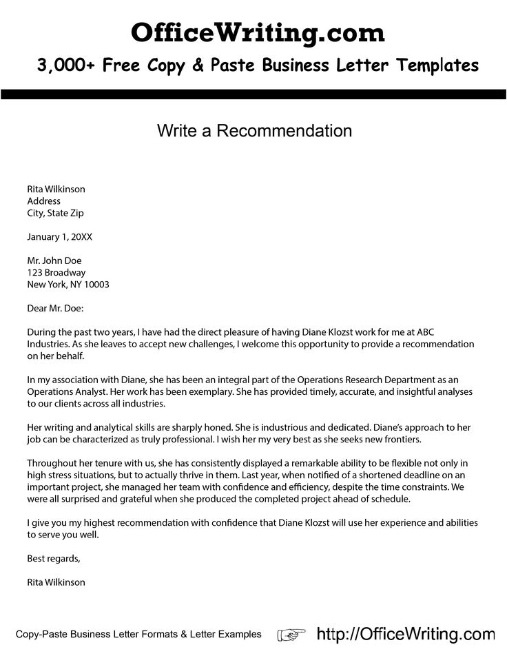 how to write a report recommendation