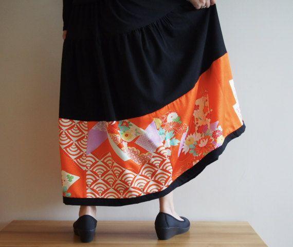 HAREGI Skirt with Vintage Japanese Kimono Fabrics by RikaShioya