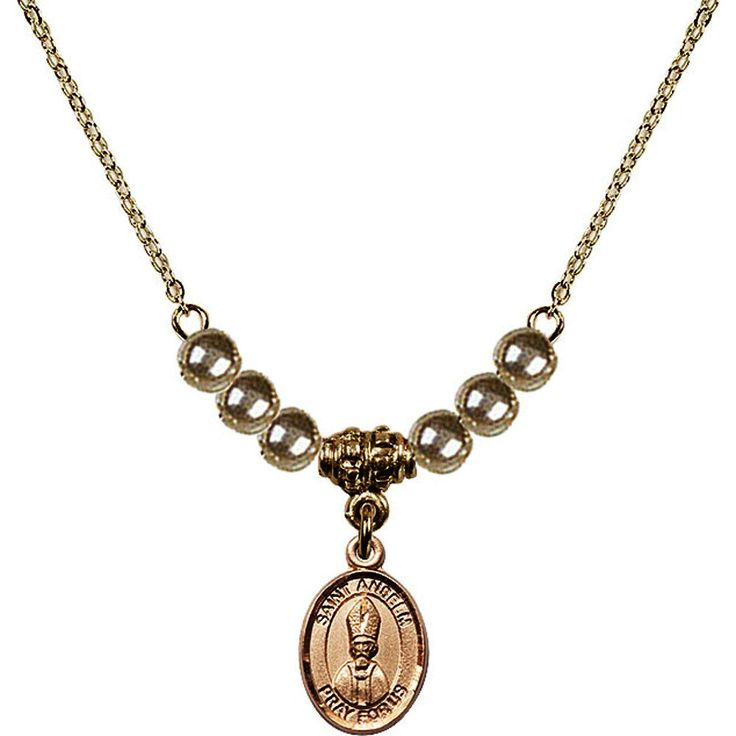 18-Inch Hamilton Gold Plated Necklace with 4mm Faux-Pearl Beads and Saint Anselm of Canterbury Charm. 18-Inch Hamilton Gold Plated Necklace with 4mm Faux-Pearl Beads and Saint Anselm of Canterbury Charm. Hand-Made in Rhode Island. Lifetime guarantee against tarnish and damage. Hamilton gold is a special alloy designed to have a rich and deep gold color.