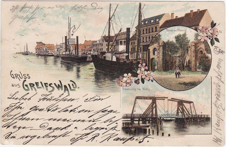 aLitho AK GREIFSWALD 1902 Hebebrücke bei Wiek, Hafenansicht, Ruine Eldena