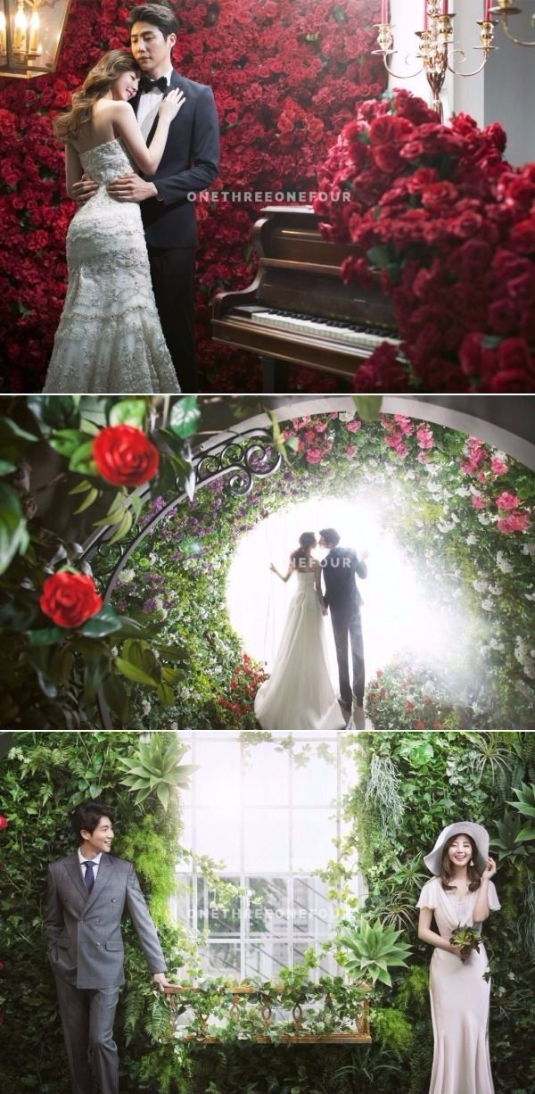 Gorgeously Elegant Floral-themed Korean Studio Pre-wedding Photoshoot - May Studio, Flowers, Indoor, Nature