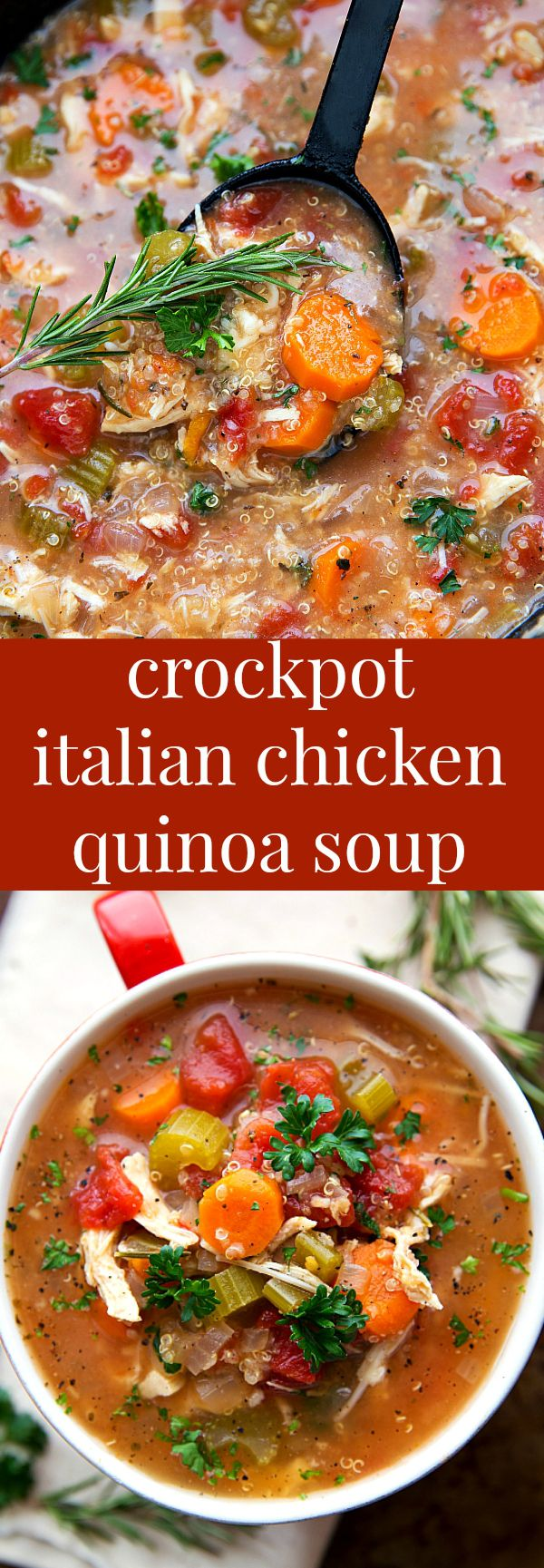 SUPER simple slow cooker (dump it and forget it!) Italian Chicken, Quinoa, and Vegetable Soup