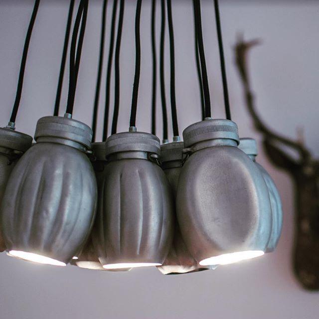 Kosmonaut office. my own Homemade lamp, old military canisters and LED light. #lampdesign #industrialchic #industrialdecor #industrialstyle #danishdesign #interiordesign #designstudio