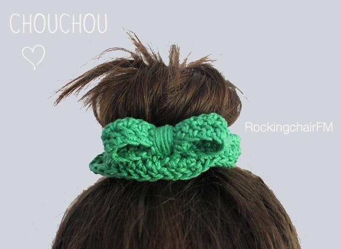 Chouchou verde elastico per capelli