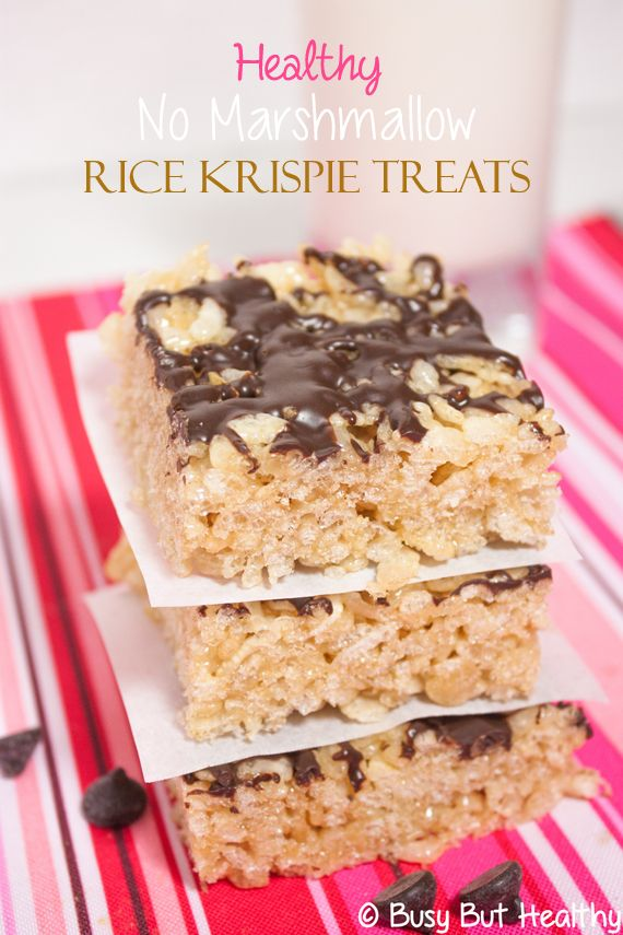 Healthy No Marshmallow Rice Krispie Treats - gluten free, nut free, can be dairy free. Tastes identical to the original, and just as easy to make.   | BusyButHealthy.com