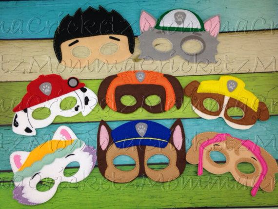 Paw Patrol Mask Characters by MommaCricketz on Etsy