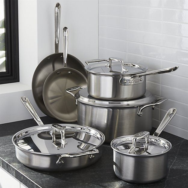 All-Clad ® d5 10-Piece Cookware Set with Bonus | Crate and Barrel $899.00.