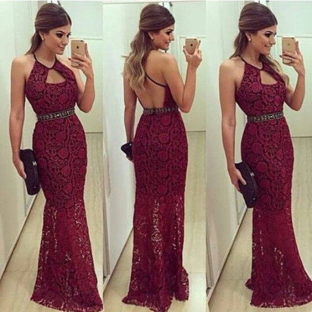 Vestidos 2015 Sexy Women Evening Dresses Sheath Halter Backless Crystals Long Lace Formal Party Dres on Luulla