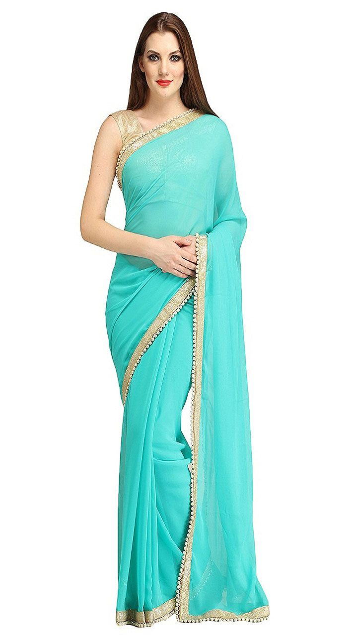 Outstanding Aqua Pearl Moti Border Bridesmaid Saree