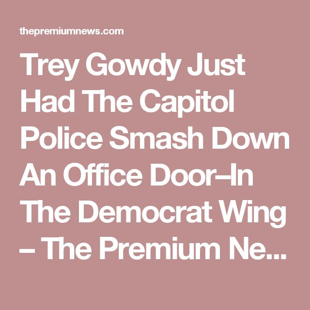 Trey Gowdy Just Had The Capitol Police Smash Down An Office Door–In The Democrat Wing – The Premium News
