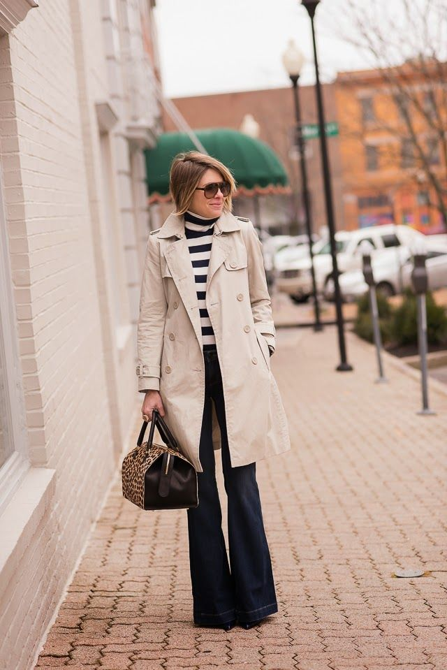 We are ready for stripes and warmer weather. For now, incorporate stripes into your wardrobe by pairing them with your favorite outerwear pieces. Blogger Seersucker + Saddles wears her Gap striped turtleneck underneath a classic trench. Shop Gap's striped tops and sweaters now.