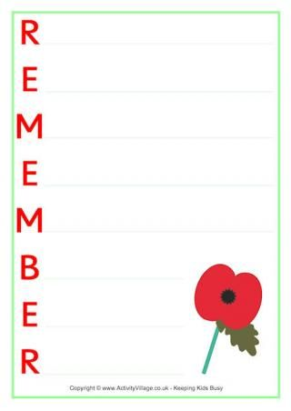 Remember Acrostic Poem Printable