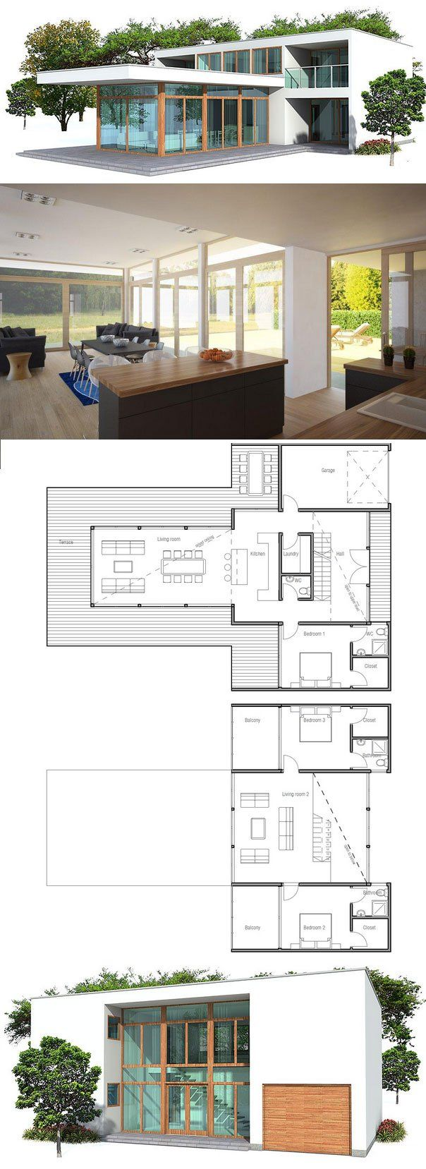 Modern house plan floor plan from house for Contemporary open floor plans