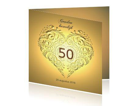 Uitnodiging kaart gouden huwelijk jubileum