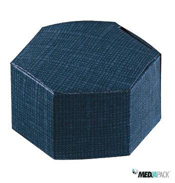 Caixa de cartão hexagonal em azul.