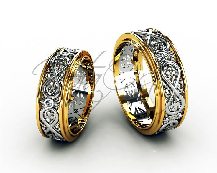 Обручальные кольца из белого и желтого золота  с символом вечности с бриллиантами KO-OKB199G