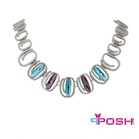 """Willow - Necklace  - Fashion necklace - Silver toned swirled hoops - Encrusted white stones surround blue stones - Alternating hoops surround purple stones - Box clasp closure - Dimension: 19.69"""" length, 1.18"""" width  POSH by FERI - Passion for Fashion - Luxury fashion jewelry for the designer in you. #networking #direct #sales #fashion #designer  #brand #onlineshopping #workingfromhome #necklace #accesories"""