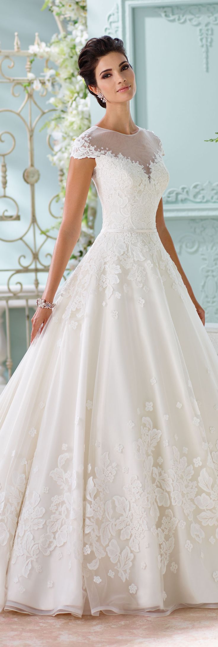 The David Tutera for Mon Cheri Spring 2016 Wedding Gown Collection - Style No. 116213 Lene #weddingdresseswithsleeves