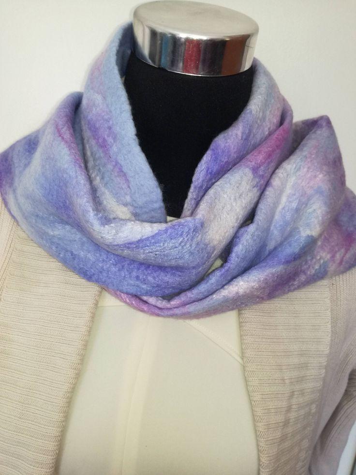Pretty handmade Merino wool felt scarf. Warm Winter Scarf.  Handmade unique scarf. Great gift. Lightweight and warm, easy to ship. by FeltCreativeNZ on Etsy