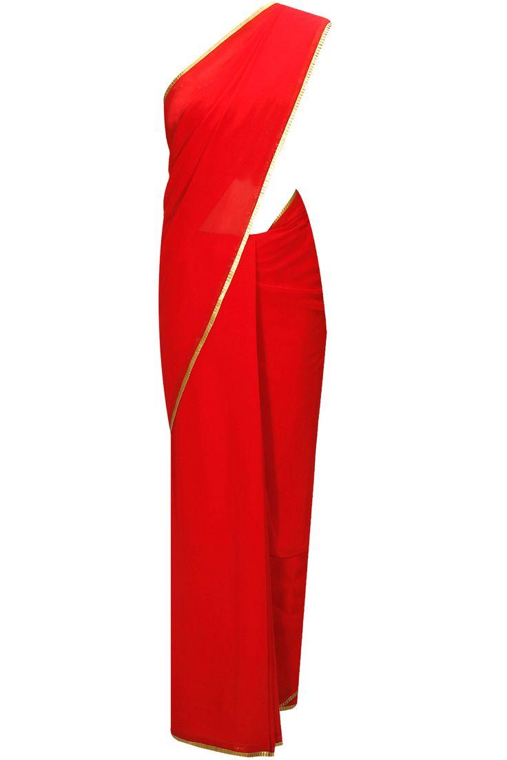 Red gota border sari by Seema Khan. Shop now: www.perniaspopups.... #clothing #sari #seemakhan #pretty #ethnic #shopnow #perniaspopupshop #happyshopping