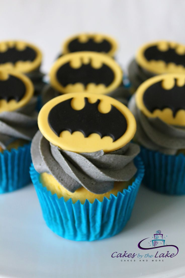 BATMAN CUPCAKES    Here is a dozen superhero cupcakes with grey buttercream icing and fondant batman toppers. Happy birthday Jameson!  www.cakesbythelake.com.au