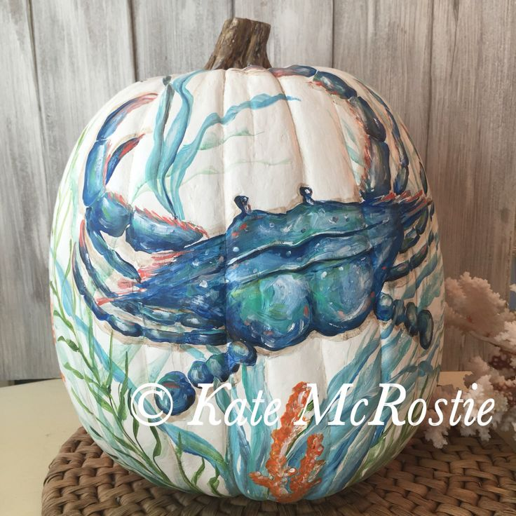 Coastal fall decor | Kate McRostie | pumpkin| Coastal fall decor | hand painted pumpkin | pumpkin decor | coastal fall pumpkin | crab decor by KateMcRostieHandmade on Etsy https://www.etsy.com/listing/486623037/coastal-fall-decor-kate-mcrostie-pumpkin