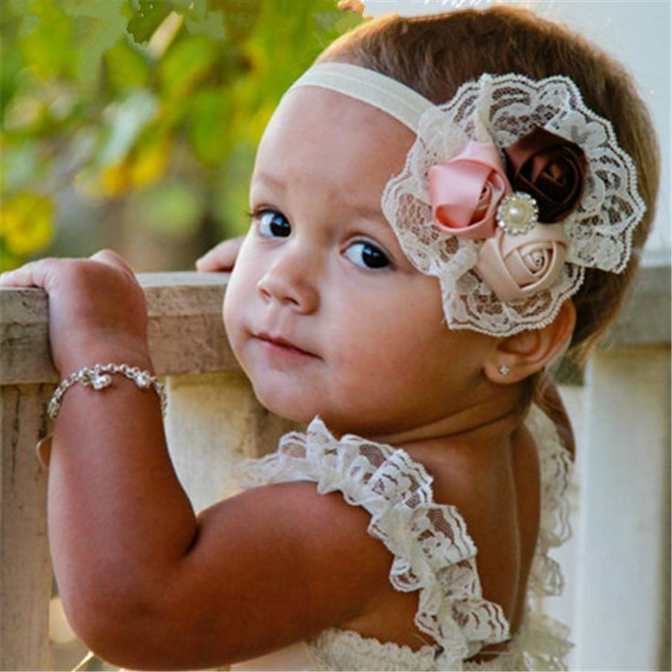 Elastic Headbands Baby Girl Hair Bands Christmas Rose Flower Crystal Baby Lace Hair Accessories Children Toddlers Headwear