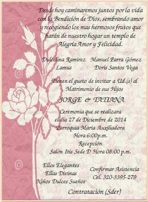 Resultado de imagen para ejemplos tarjetas de invitacion para bodas con citas biblicas en español