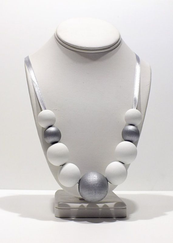 Hand Painted Wooden Bead Necklace  Silver by GildedGirlDesigns, $22.50