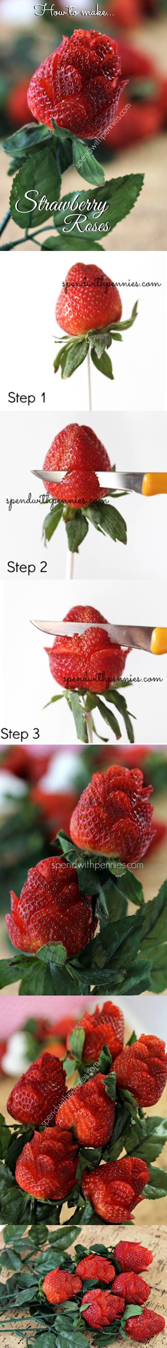 DIY Beautiful Strawberry Roses | iCreativeIdeas.com Like Us on Facebook ==> https://www.facebook.com/icreativeideas
