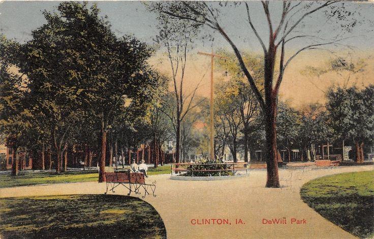 Clinton Iowa~DeWitt Park~Men Sitting on Bench~Garden @ Center of Pathway~1910 Pc | eBay