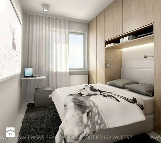 Mieszkanie 46 m - Mała sypialnia małżeńska, styl nowoczesny - zdjęcie od TK…