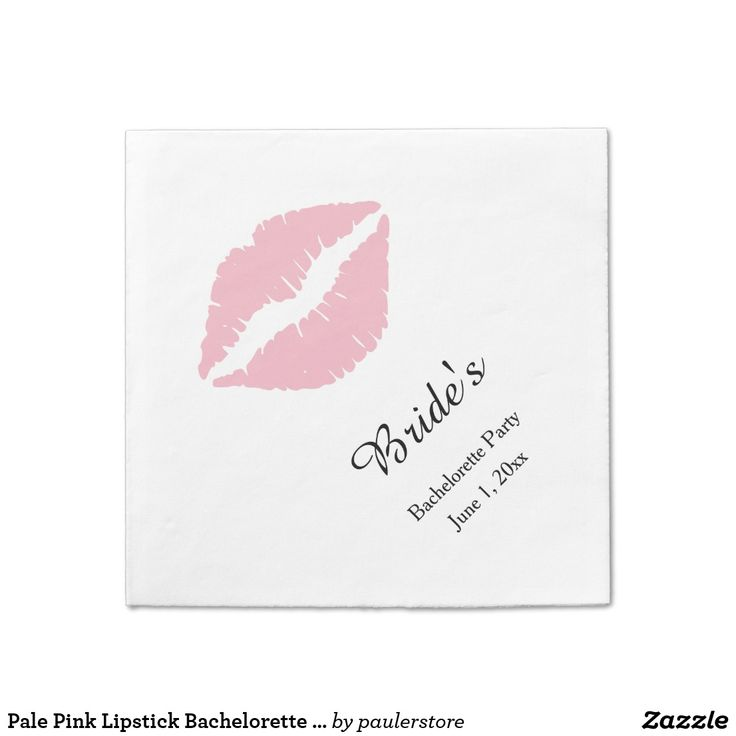 Pale Pink Lipstick Bachelorette Party Napkin