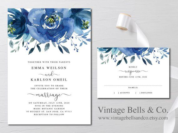 Wedding Invitation Navy Blue Floral Invitation Royal Blue