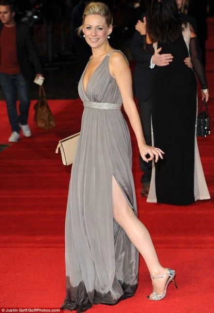 Gusset girl! Ex-EastEnders Star Kellie Shirley Flashes Her Underwear ... And Comes Close to Spilling Out Of Her Dress At The First Run For Your Wife premiere 2