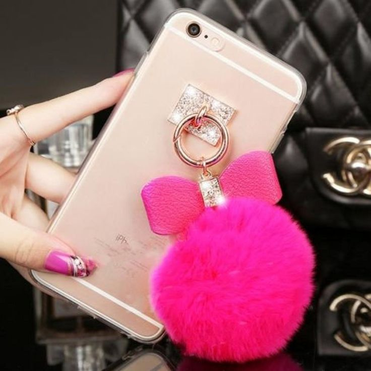 rose Luxury Bling Rhinestone Crystal Clear Rabbit Fur Puffer Ball Tassel Pendant Phone Case Cover for Mobile Cell Phone (Alcatel One Touch Fierce XL 5054) -- Awesome products selected by Anna Churchill