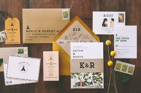 Rustic Watercolor Camp Vibes Wedding Invitation by WideEyesPaperCo