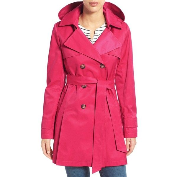 Halogen Detachable Hood Trench Coat (1 100 SEK) ❤ liked on Polyvore featuring outerwear, coats, primrose, double breasted coat, pink coat, petite trench coat, long sleeve coat and petite coats